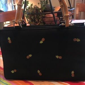 Black satin pineapple embroidered clutch